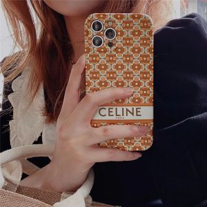 セリーヌ 偽物 iphone12pro maxケース オレンジ 赤 celine アイフォン12/12mini/11pro 保護カバー 韓国 流行り iphone11/xs/xrケース 女子 人気 iphonese2/8plus/7 携帯ケース 可愛い
