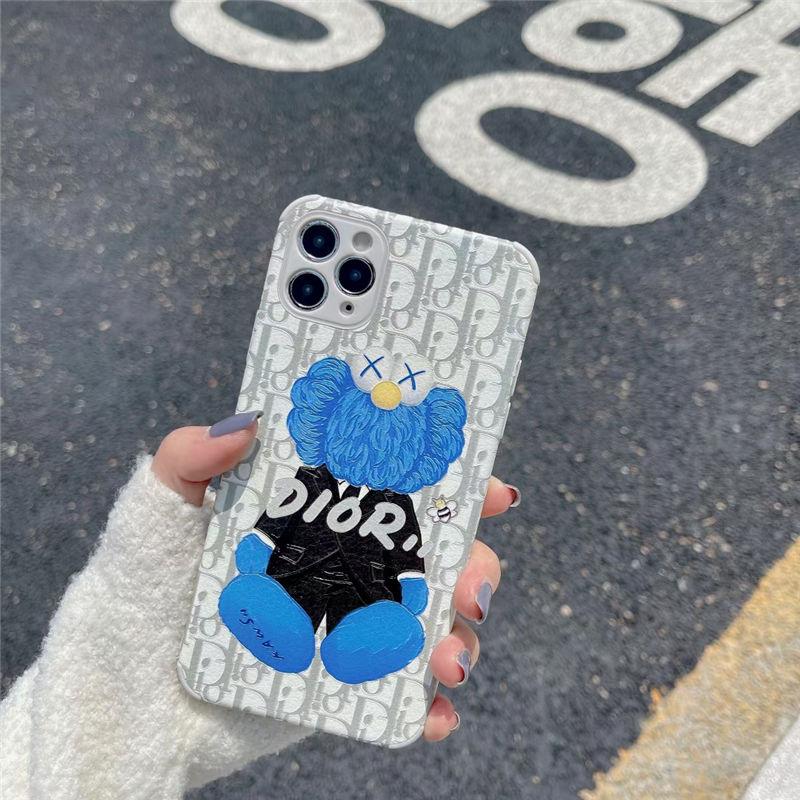 海外 セレブ 愛用 iphone ケース dior カウズ アイフォン12pro max/12 カバー 割れない 可愛い iphone11pro/xs/xr ケース カップル ディオール風 スマホケース iphone7/8