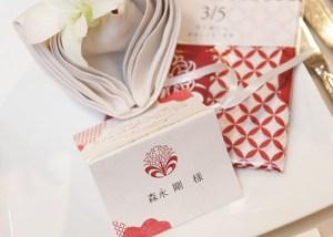 席札手ぬぐい-鶴と七宝【紅】の写真