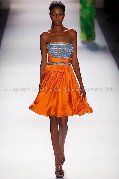 A model on the runway at the Farah Angsana SS2013 show at New York Mercedes-Benz Fashion Week.