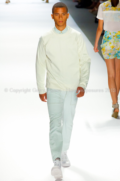 A model on the runway at the Richard Chai SS2013 show during New York Mercedes-Benz Fashion Week.