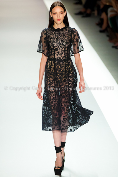 A model on the runway at the Jill Stuart SS2013 show at New York Mercedes-Benz Fashion Week.