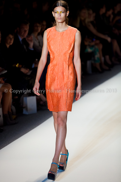 A model on the runway at the Lela Rose SS2013 show at New York Mercedes-Benz Fashion Week.
