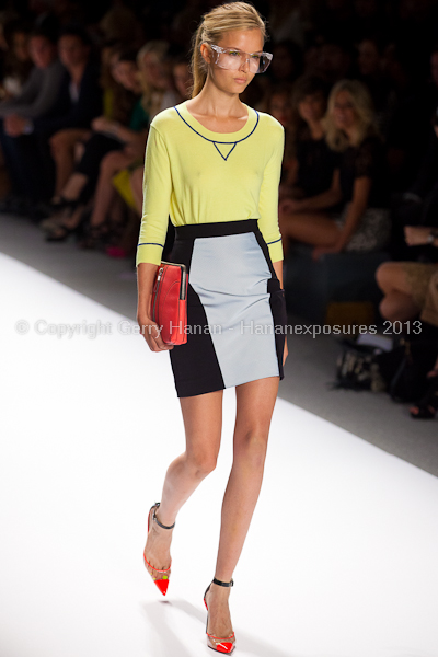 A model on the runway at the Milly By Michelle Smith SS2013 show at New York Mercedes-Benz Fashion Week.