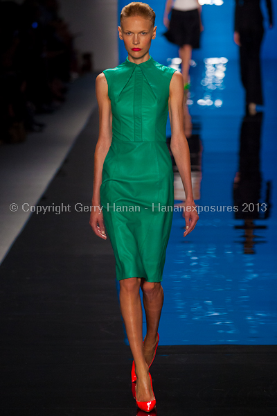 A model on the runway at the Reem Acra SS2013 show at New York Mercedes-Benz Fashion Week.
