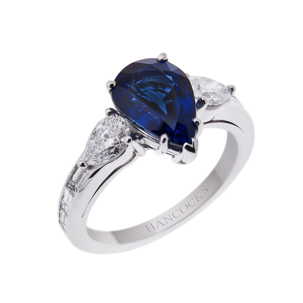 Pear Cut Sapphire Solitaire With Diamond Shoulders