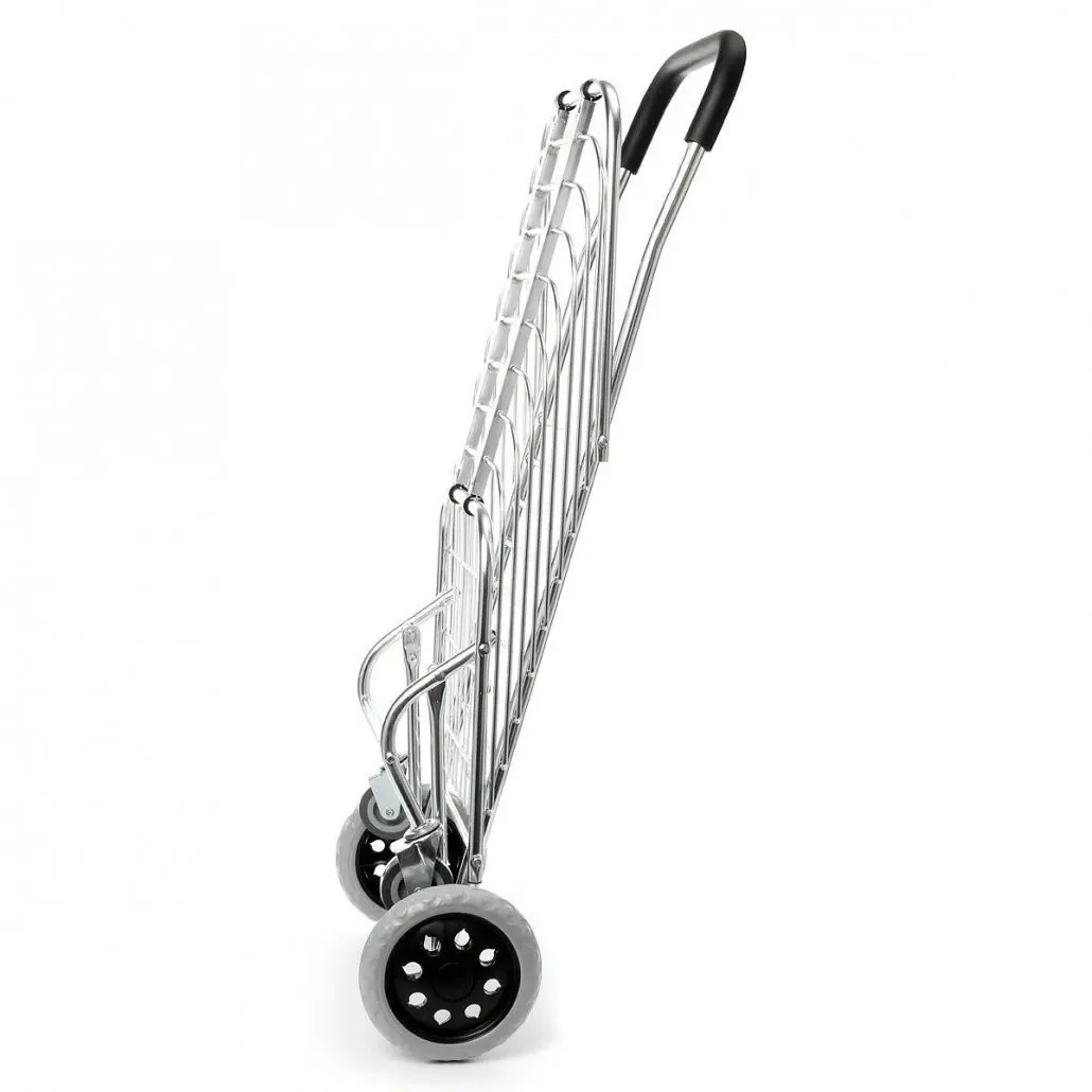 Portable Folding Shopping Basket Cart Trolley Four Wheel