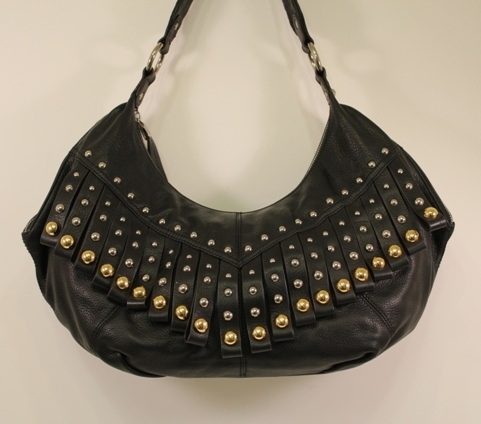 ... Handbags B. Makowsky – Black Glove Leather Zip Top Large Hobo with  Fringe.    44528762ee