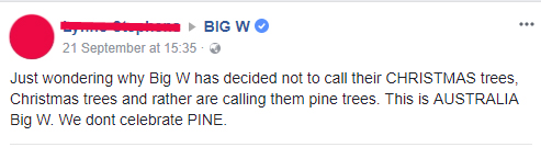 Christmas tree comment on big w facebook page