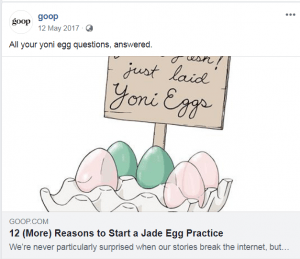 Crystals: Screenshot from Goop on facebook sharing an article about Jade vagina eggs