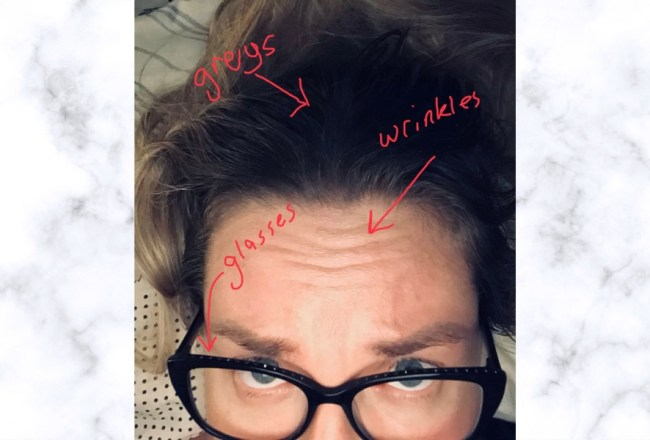 Turning 40- my forehead, hair and eyes.