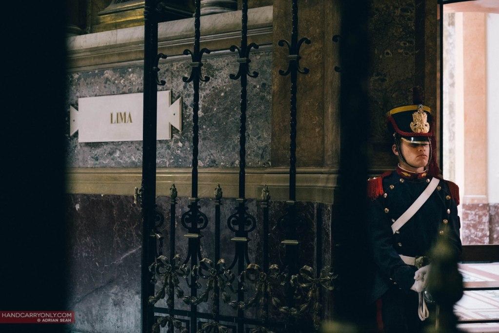 guard at san martin's tomb cathedral metropolitan buenos aires argentina