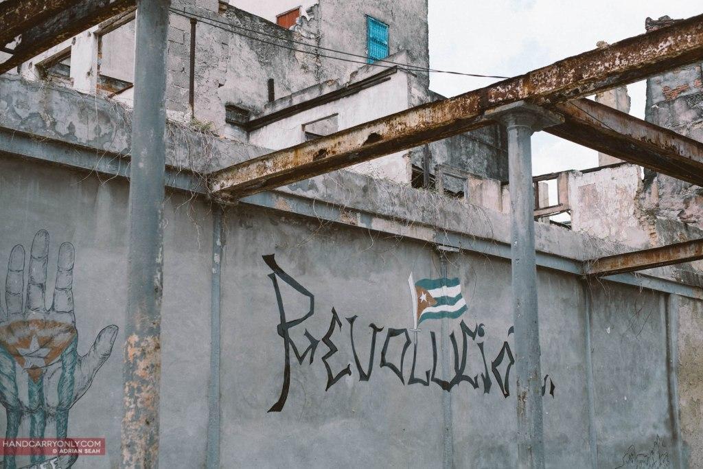 La Revolución graffiti on the wall cuba
