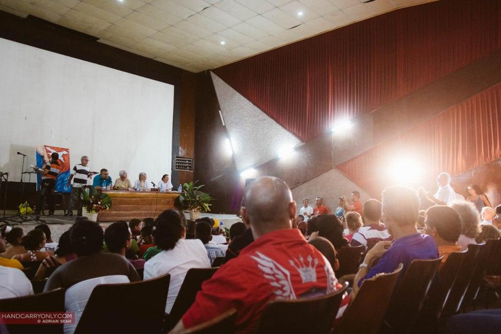 cubans at a propaganda event vinales