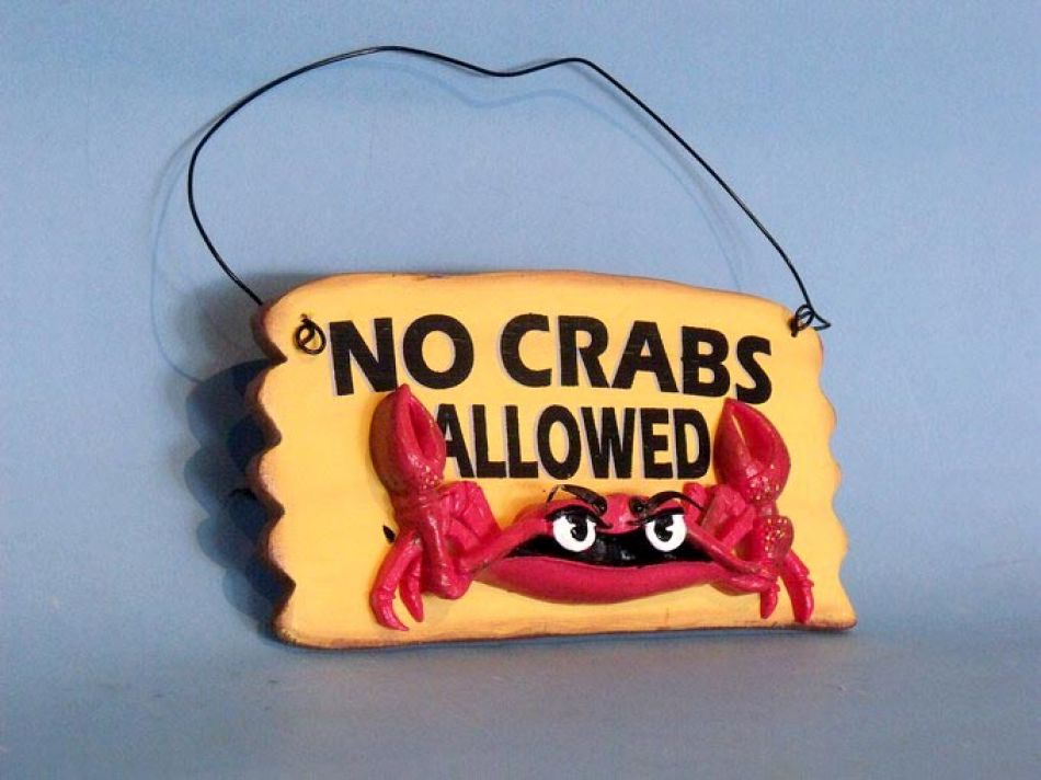 Buy Wooden No Crabs Allowed Sign 8 Inch Beach House Decoration
