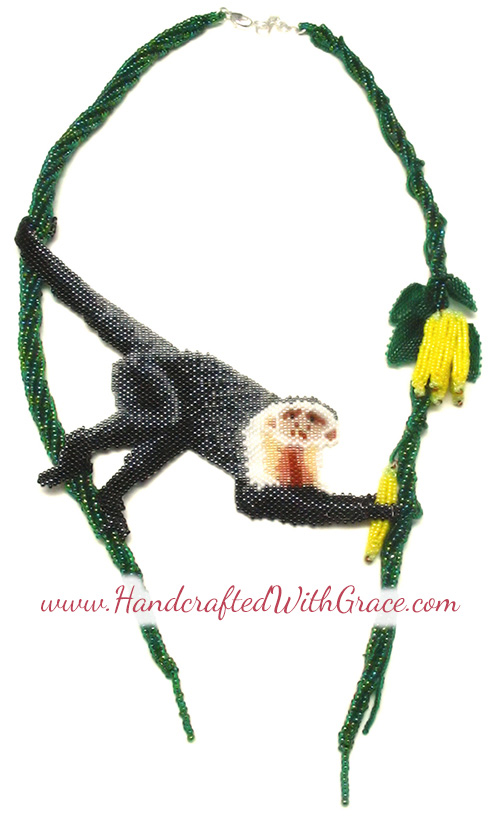 Beaded Capuchin Monkey Necklace by Theresa Caroon www.handcraftedwithgrace.com