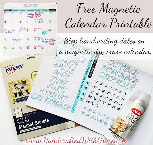 Free Magnetic Calendar Printable by HandcraftedWithGrace.com