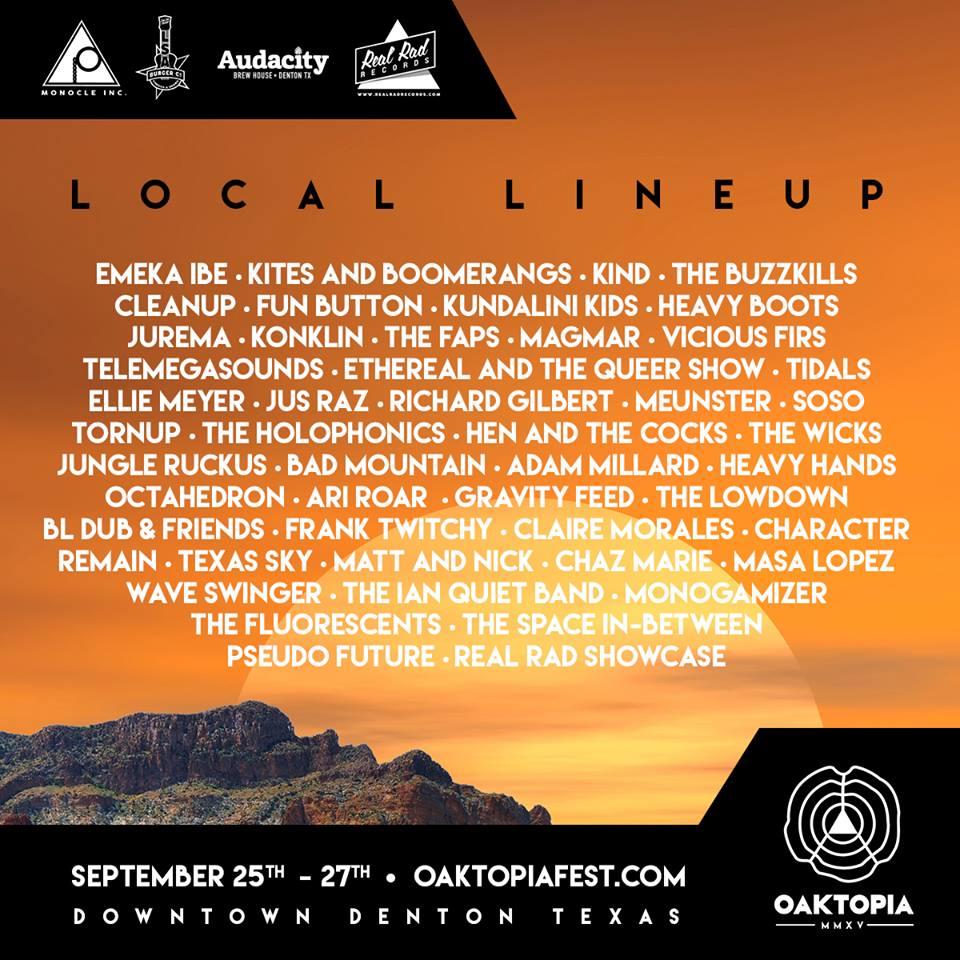 Oaktopia 2015 Local Lineup PART 1