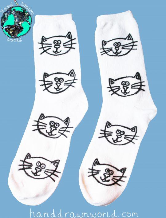 Hand Drawn cats design, unisex white socks, women's socks, ladies socks