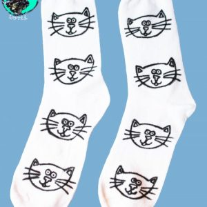 Hand Drawn cats design, unisex white socks, women's socks, ladies socks