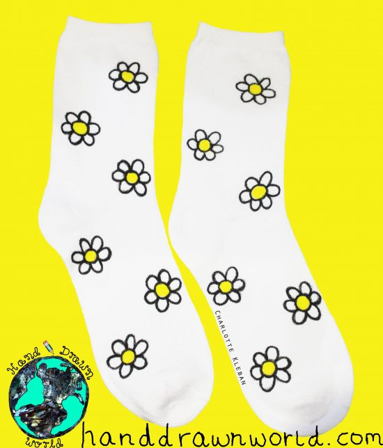 Hand Drawn daisy design, unisex white socks, women's socks, ladies socks