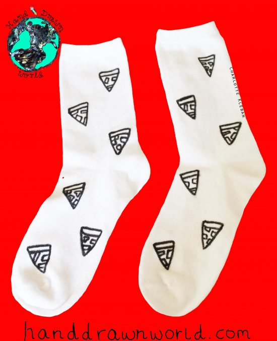 Hand Drawn pizza design, unisex white socks, women's socks, ladies socks