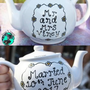 Hand Drawn personalised wedding day teapot, small teapot, large teapot, from Charlotte Kleban & Hand Drawn World
