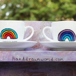 Hand Drawn Rainbow Design espresso cup from Charlotte Kleban & Hand Drawn World