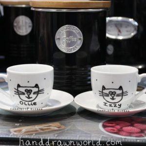 Hand Drawn Mr & Mrs Couple Design espresso cups & saucers set from Charlotte Kleban & Hand Drawn World