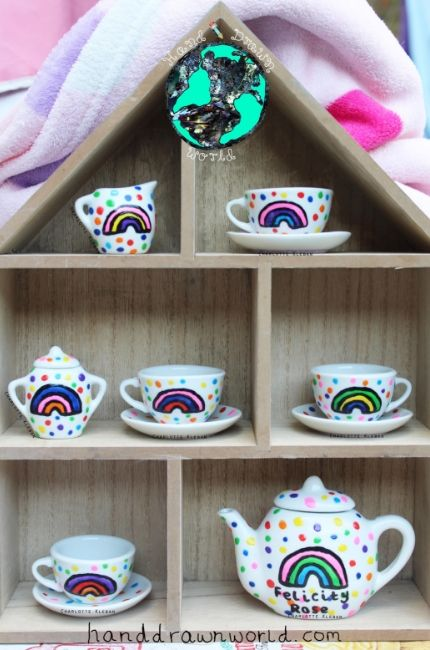 Children's Personalised Rainbow Polka Dot Tea Set from Charlotte Kleban & Hand Drawn World, Hand drawn & hand made