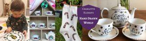 home-page-e1568208544504 Hand Drawn World By Charlotte Kleban teapots, dinner plates, tea towels, teapot sets, unisex socks, espresso cups