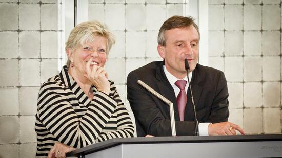 Fidar-Präsidentin Monika Schulz-Strelow und Thomas Geisel, Oberbürgermeister von Düsseldorf. Quelle: Amrop Delta