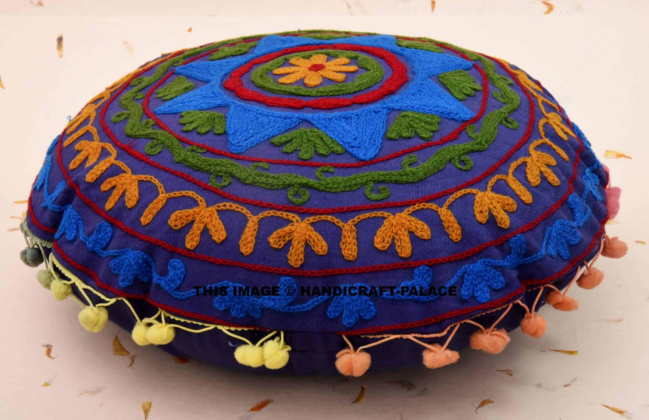 blue star round pillow case 16