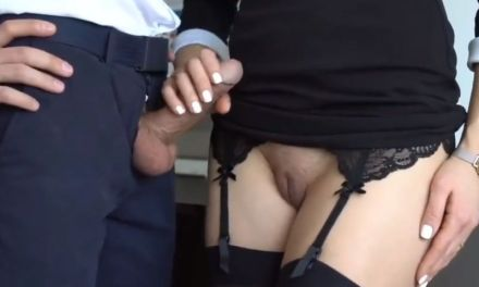 Naughty secretary gives her new boss a hot handjob