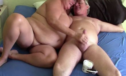Mature BBW jerks her husband off until he cums