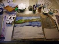 Work in progress - Seidenmalerei