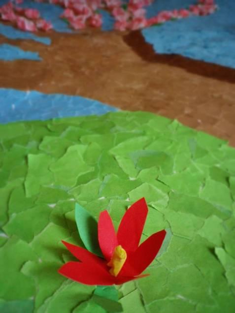 Tonpapiermosaik mit Frühlingsthema: Blüten III