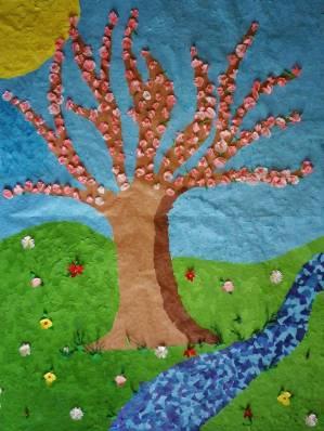 Tonpapiermosaik Frühling Gesamtbild
