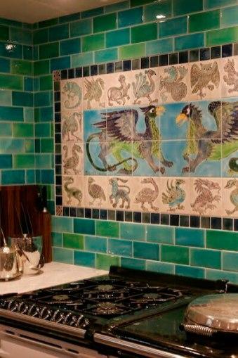De Morgan style Aga tile panel detail