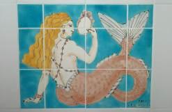 Deco mermaid tile panel