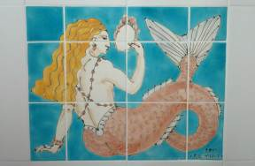 Deco mermaid tile panel