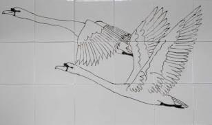 swans tile panel