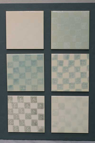 blue chequer tiles.