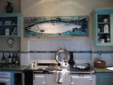 kitchen tiles - framed salmon panel
