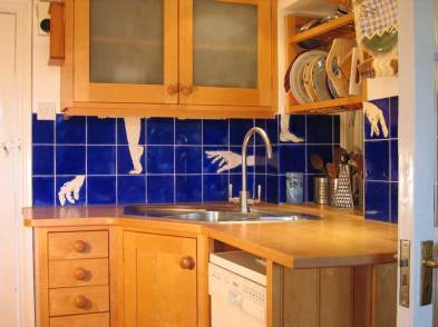 Kitchen tiles,hands and feet