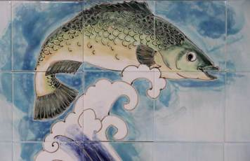 leaping fish-wrasse tile panel