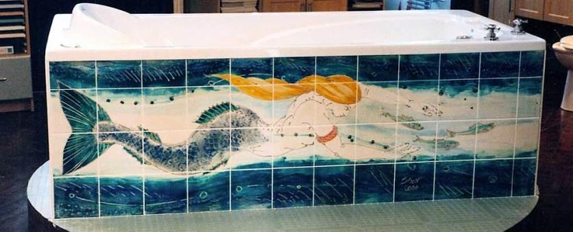 Mermaid bath side tile panel