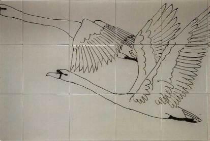 Flying swans tile panel.
