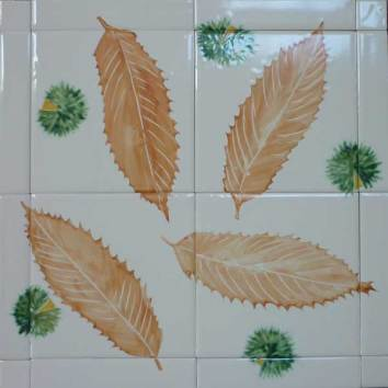 Sweet chestnut stencil tile table top