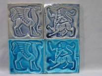 Mythological designs- handmade clay tiles with Stamped designs, 2 alkali glazes.. Approx 10cm. 4""